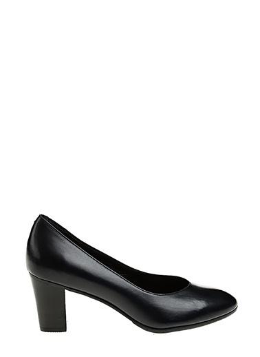 Divarese Kalın Kısa Topuklu Deri Ayakkabı Lacivert
